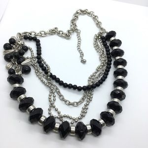 Black Silver Chains Layered Necklace